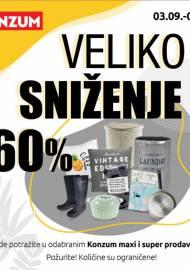 KONZUM - VELIKO SNIŽENJE I DO -60%! - Akcija sniženja do 03.10.2020.