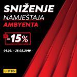 AMBYENTA NAMJEŠTAJ SNIŽENJE -15%  do 28.02.2019. Godine